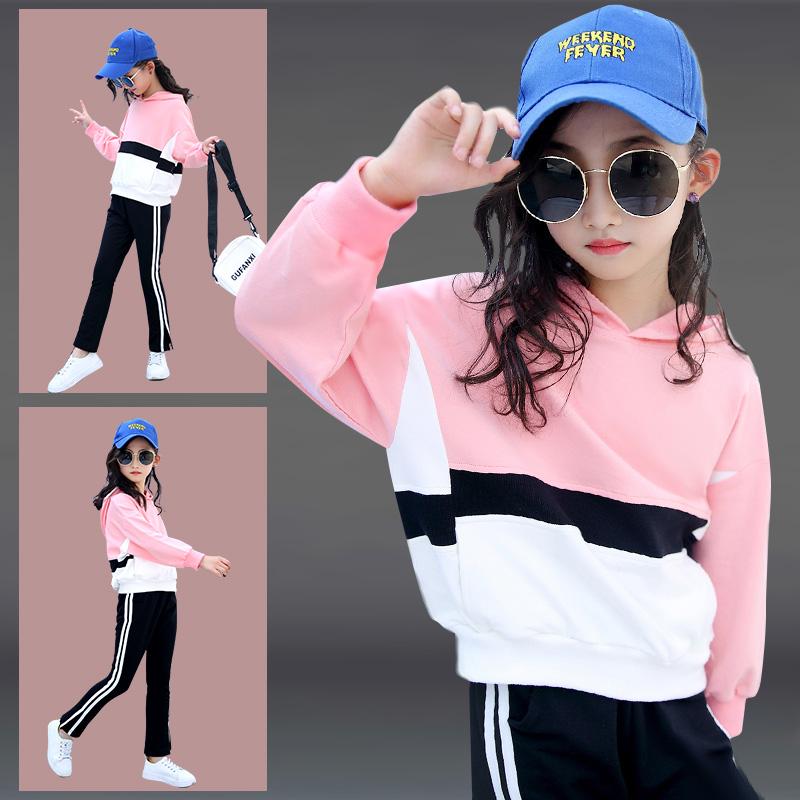 女童春装套装2019新款时髦洋气春秋款中大童装春季儿童运动两件套