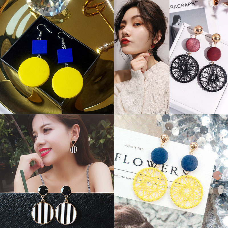 2019 fashionable pure silver geometric high-grade Earrings Korean temperament versatile net red Earrings female exaggerated Earrings anti allergy