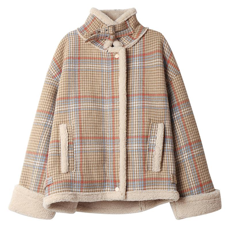 羊羔毛外套2020新款秋冬季短款棉服