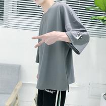 夏季刺绣七分袖上衣服 五分短袖男t恤国潮宽松中袖蝙蝠衫7分半袖