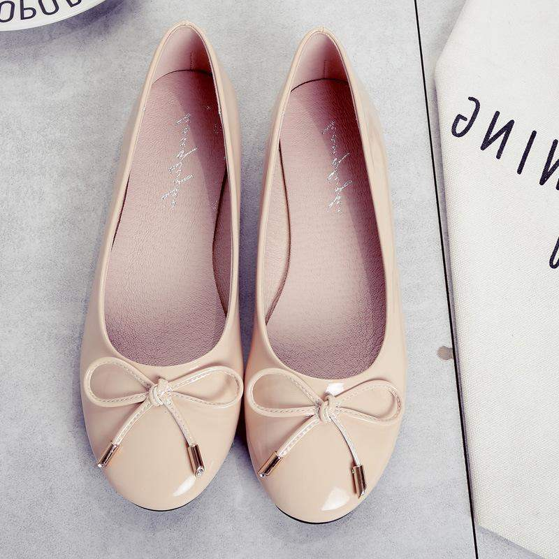 Spring and autumn new flat bottom shallow mouth single knot womens shoes ballet shoes