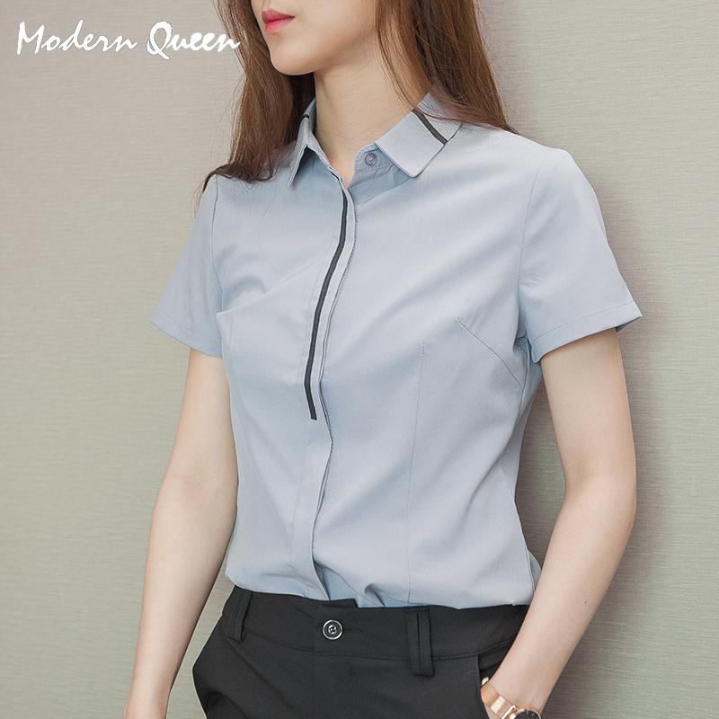 2018新款灰色短袖正装衬衫女气质百搭工作服工装白衬衣职业装夏
