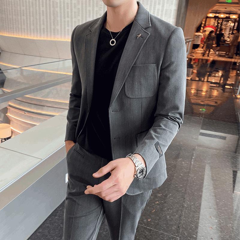 Suit mens Korean slim fit British style suit trend handsome business leisure professional dress ruffian handsome temperament