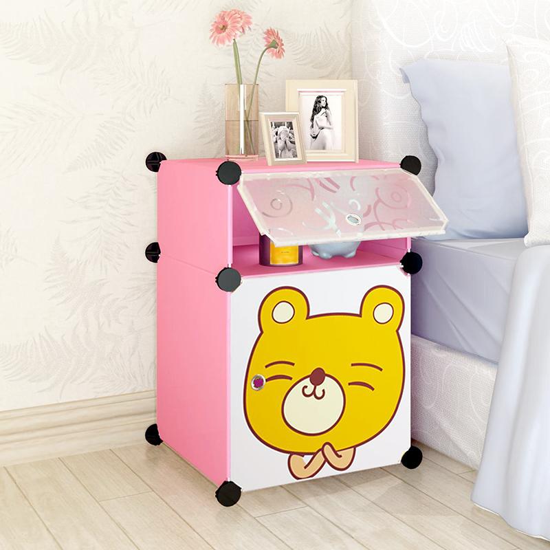 簡易卧室兒童床頭櫃簡約現代多功能邊櫃迷你塑料特惠組裝櫃經濟型