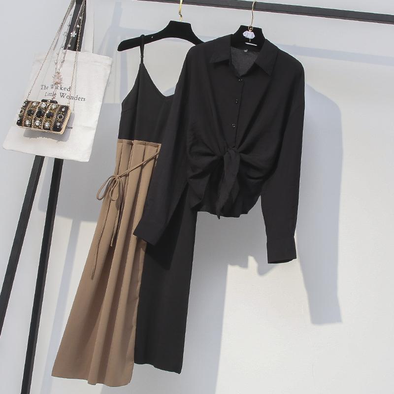 大码女装微胖妹妹秋装套装显瘦减龄胖mm最爱新款洋气连衣裙两件套