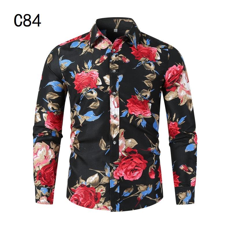 1507-C84-P18男装2021秋装新款大码长袖衬衫花色印花衬衣男装免烫