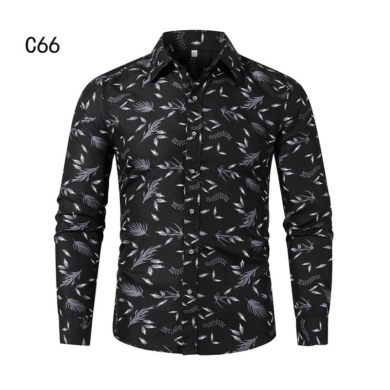 1507-C66-P18男装2021秋装新款大码长袖衬衫花色印花衬衣男装免烫