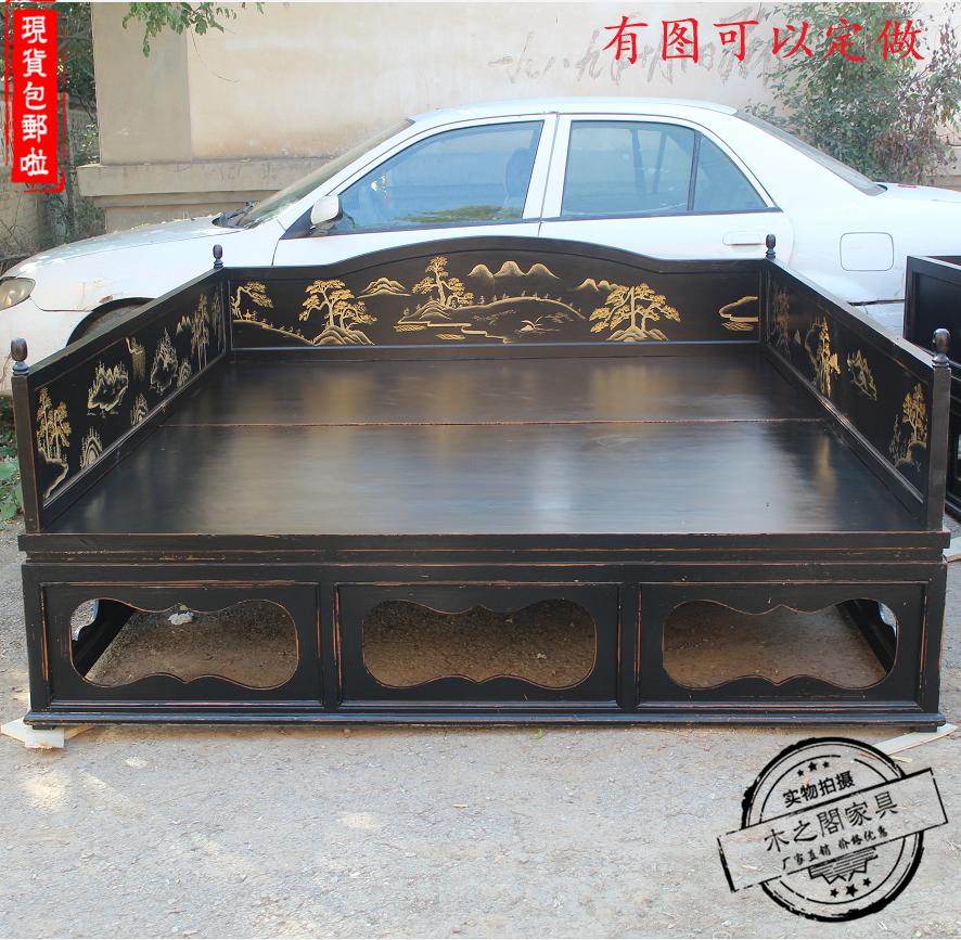 现代中式实木罗汉床2米双人床现代简约中式床简约床主卧家具定制