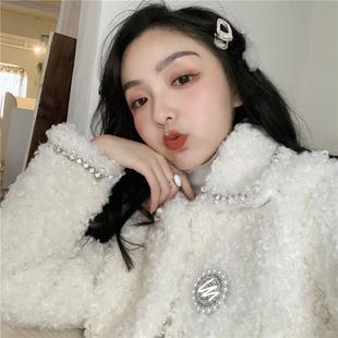 Doggy珍珠镶钻高配版羊圈毛外套 女秋冬季2018新款名媛短款上衣