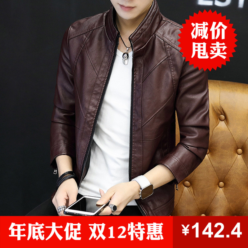 Spring and autumn mens PU leather thin Korean casual coat stand collar slim fit leather jacket fashion youth mens package