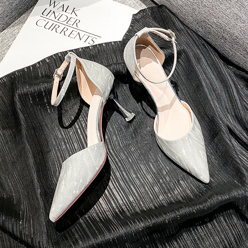 Word buckle high heels womens thin heels 2020 new versatile Bridesmaid Wedding Shoes fairy style pointed gold note
