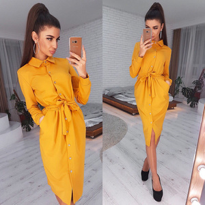 Women Vintage Front Button Sashes A-line Dress Long Sleeve