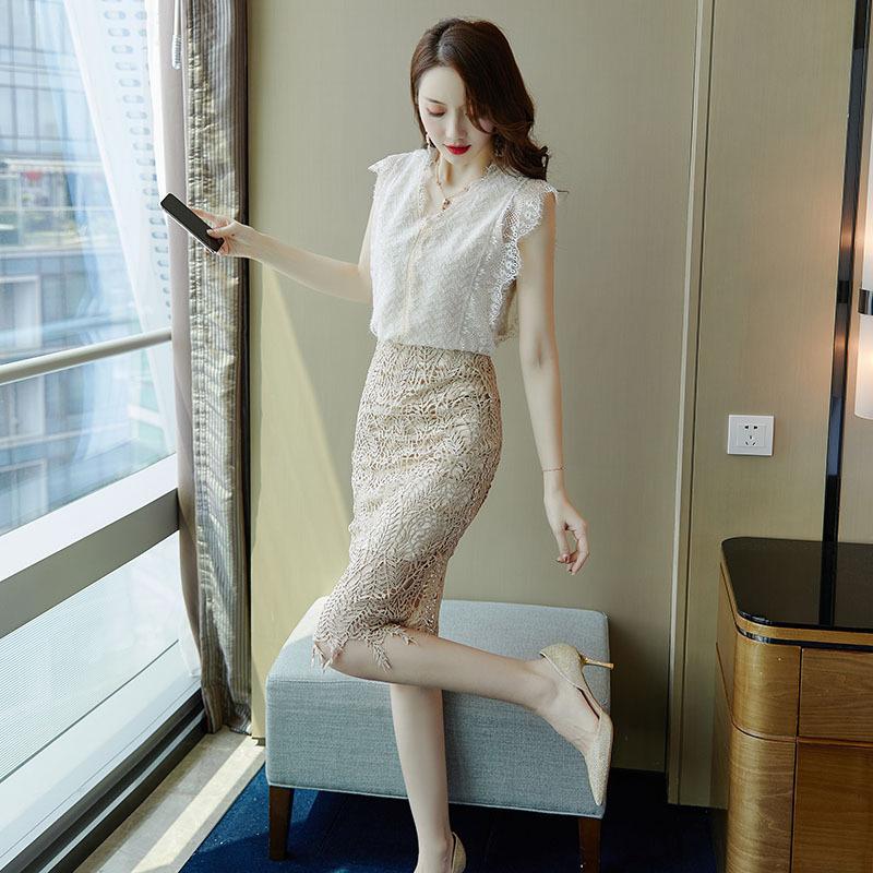 夏季御姐淑女一步裙套装甜美风两件套少女气质时尚名媛轻熟风洋气