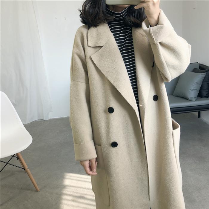 重磅款 秋冬新品女式高档双面珍珠绒大衣双排扣仿羊绒外套中长款