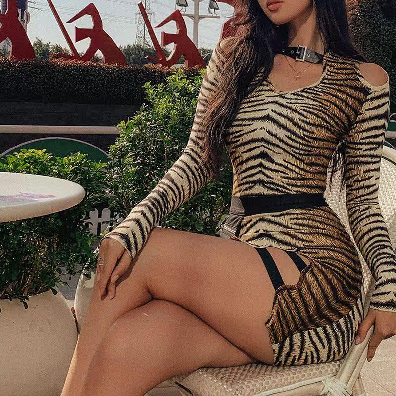 European station fashionable Tiger Print tight buttock skirt creative adjustable neck long sleeve sexy split dress women
