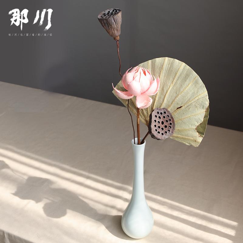 干花花束真花装饰摆件荷花莲蓬禅意中式插花佛系家居客厅摆设小束