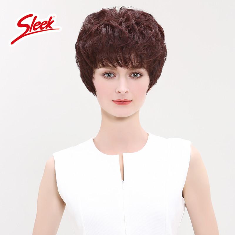 sleek假发女短发短卷发斜刘海蓬松自然中老年妈妈整顶假发假头套,可领取50元天猫优惠券