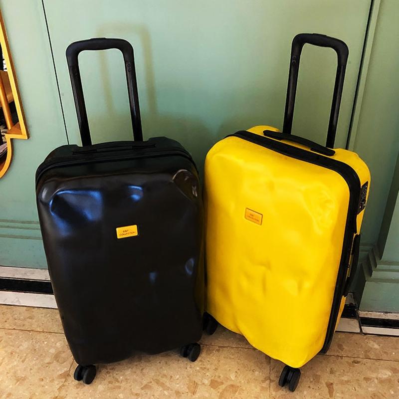 意大利破损旅行箱子行李箱ins网红拉杆箱女万向轮男凹凸皮箱个性
