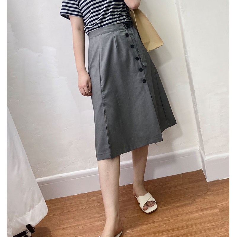 Grey skirt womens summer mid long A-line high waist thin simple waistband split suit skirt in all solid colors