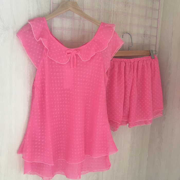 Pajamas female summer Sexy Chiffon ice silk short sleeve two piece suit lovely sweet fresh student female household clothes