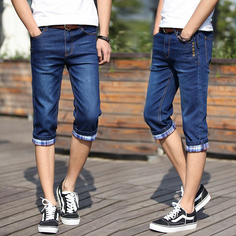 夏季七分牛仔男弹力修身小脚潮短裤需要用券