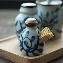 and wind Four Seasons glaze under the color Japanese creative tableware hand-painted toothpick tube ceramic toothpick tank toothpick box Pepper tank