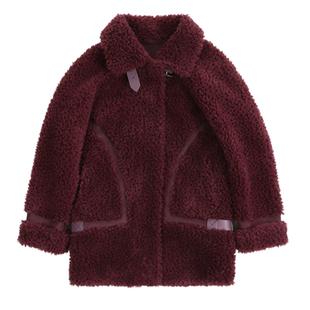 新款艾美麗顆粒羊毛外套羊剪絨皮毛一體冬季皮草羊羔毛加厚大衣女