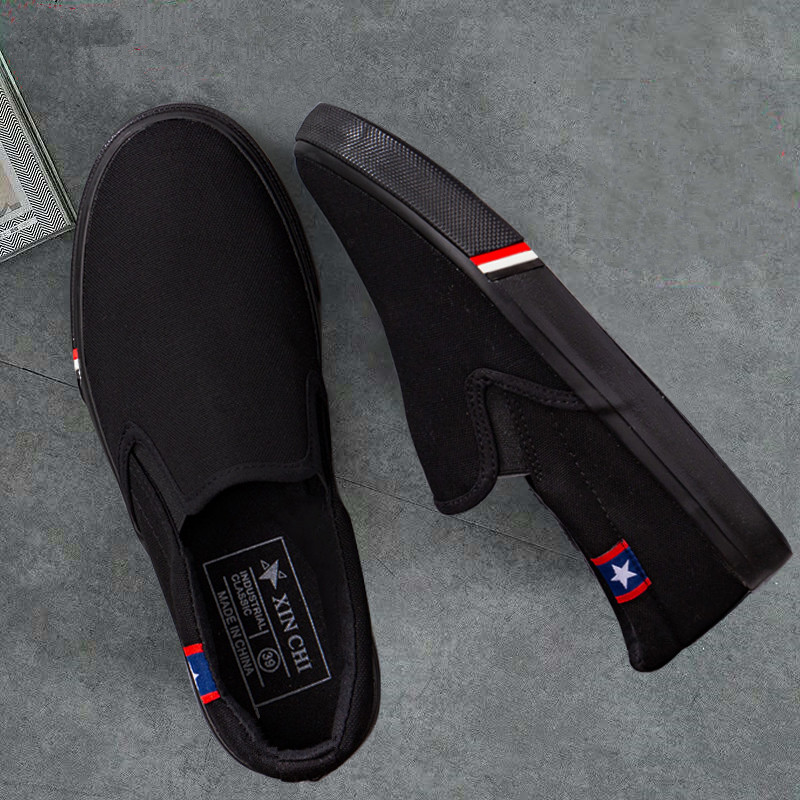 Summer new canvas shoes mens one foot on Korean fashion cloth shoes low top casual board shoes lazy mens shoes