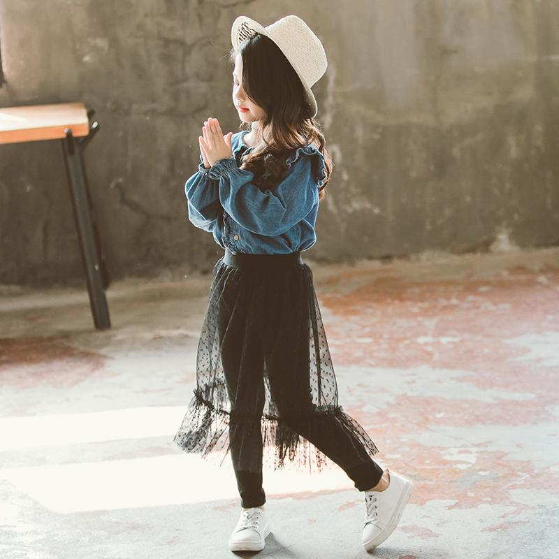 女童春装2019新款韩版时尚长袖网纱裙裤时髦套装洋气衬衫两件套潮
