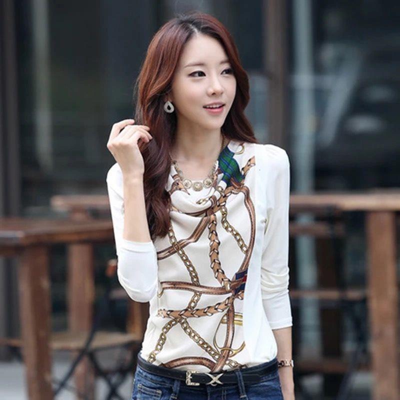 加绒/不加绒女装长袖T恤春季新款印花修身显瘦打底衫时尚棉质上衣