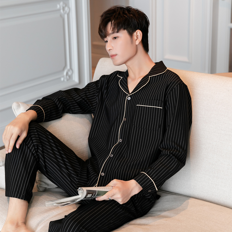 Couples pajamas autumn and winter new ins stripe gentlemans cotton two piece suit