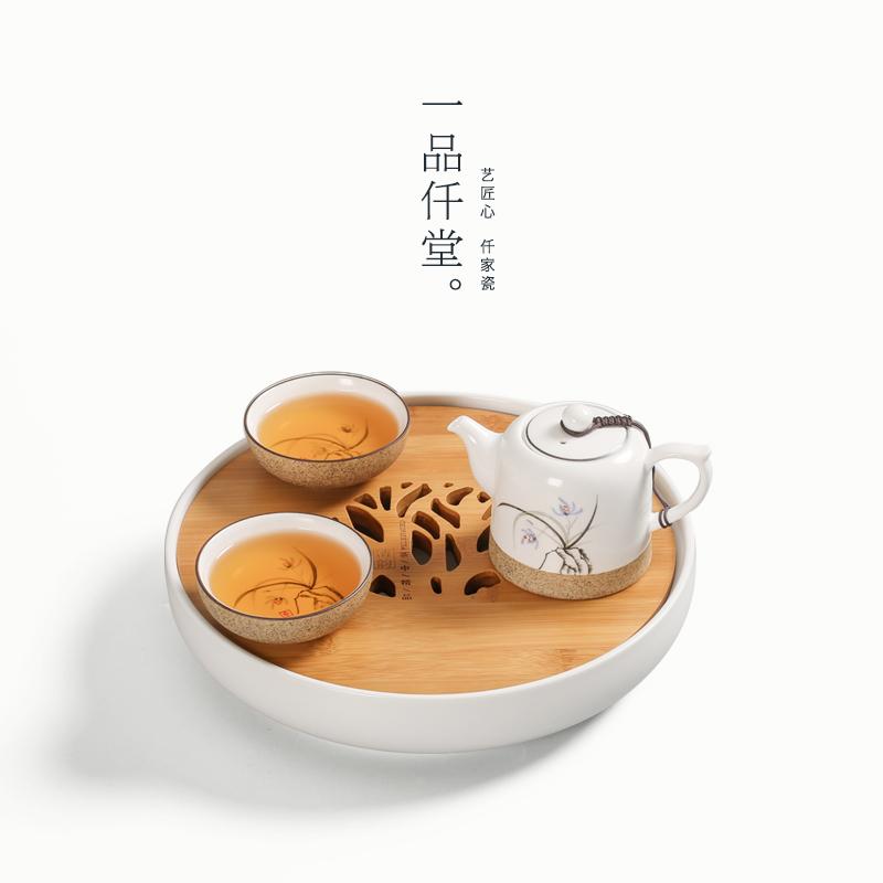 日式功夫茶具套裝圓形陶瓷幹泡茶盤小茶海儲水式竹製茶盤茶台茶托