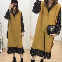 2021特大码女装春秋时尚针织背心套装胖妹妹洋气显瘦连衣裙两件套