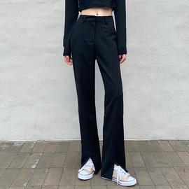 黑色開叉褲女秋冬大碼胖妹妹mm設計感小眾炸街褲子休閑闊腿西裝褲圖片