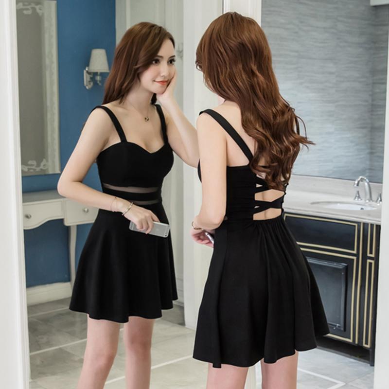 夜场女装性感2021夏装新款韩版时尚修身显瘦法式小心机黑色连衣裙