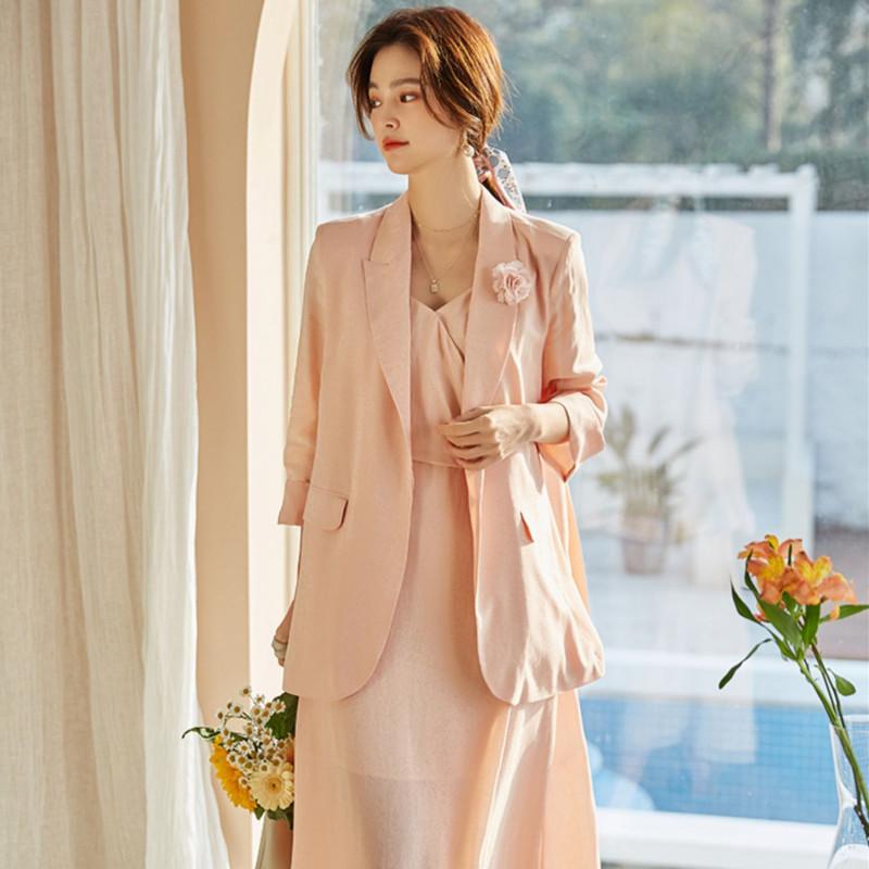 VDOSANCE 2021春夏新作ファッションドレッサー気質通勤サスペンダーワンピースゆったりスーツ女性