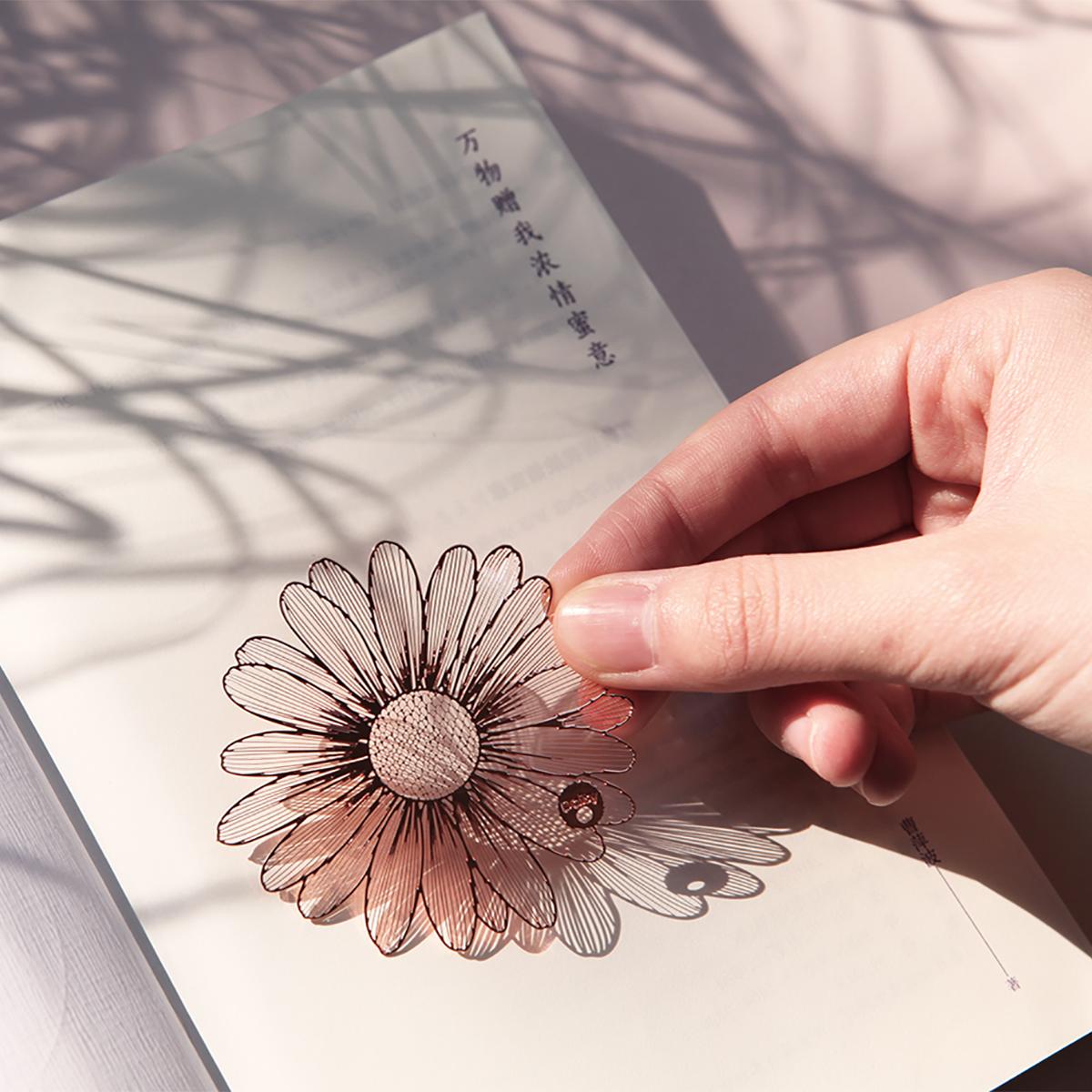手心里设计花语夹书签金属定制礼物创意可爱学生小清新中国风流苏