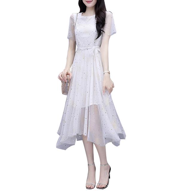 裙子2021年新款夏装气质连衣裙女神范碎花雪纺收腰显瘦初恋小白裙