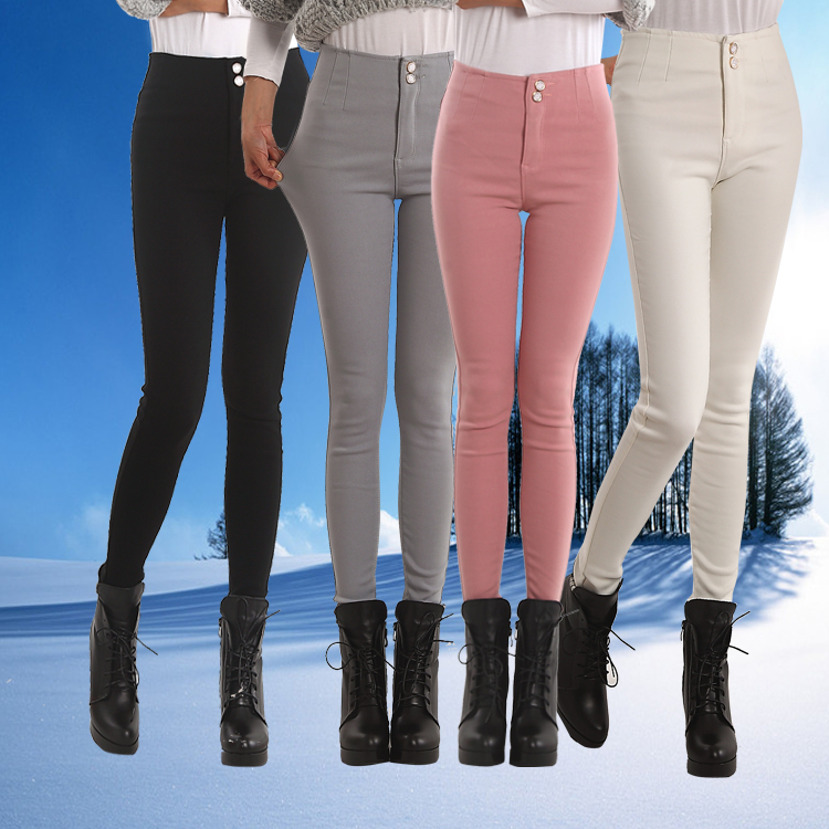 New spring and summer thin pencil pants multicolor elastic outer wear slim fit winter clothes Korean Plush thickened Leggings