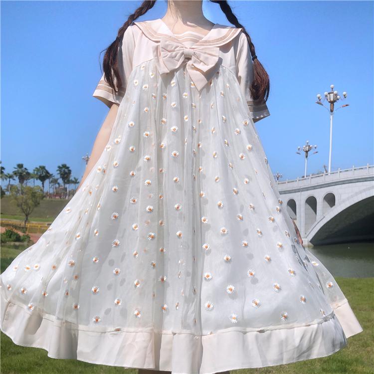 lolita2020夏季新款日系甜美洛丽塔裙子女海军风小雏菊娃娃连衣裙