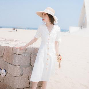 连衣裙2020新款夏法式复古裙过膝收腰显瘦法国小众很仙的裙子长裙