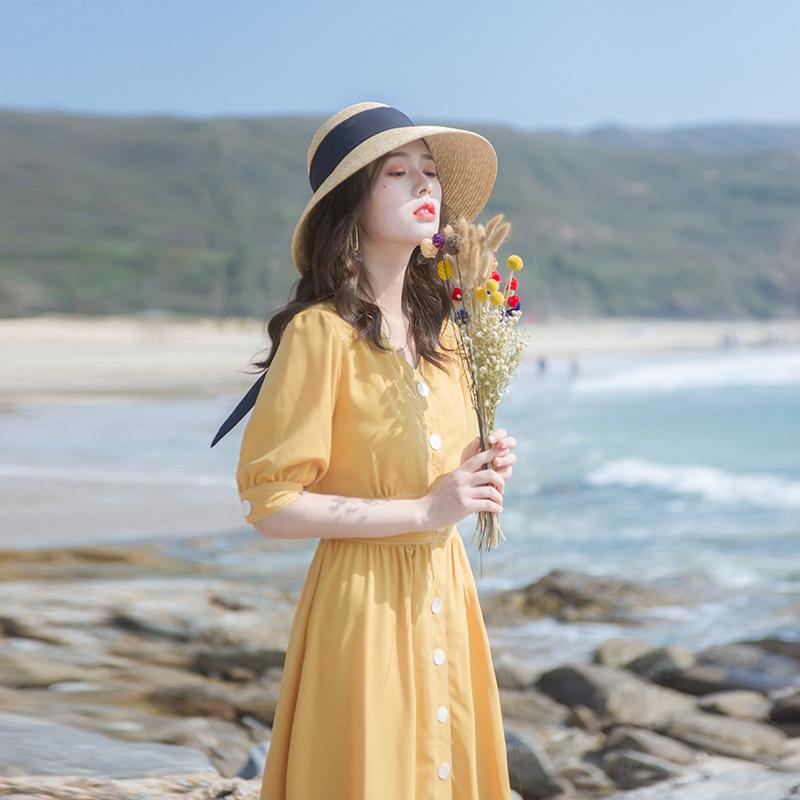 2020夏季新款女裝流行裙子修身顯瘦輕熟風氣質洋氣法式復古連衣裙