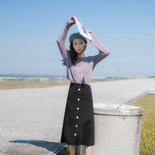 Autumn 2019 women's fashion new fashion net red temperament early autumn knitwear skirt shows thin two piece suit skirt