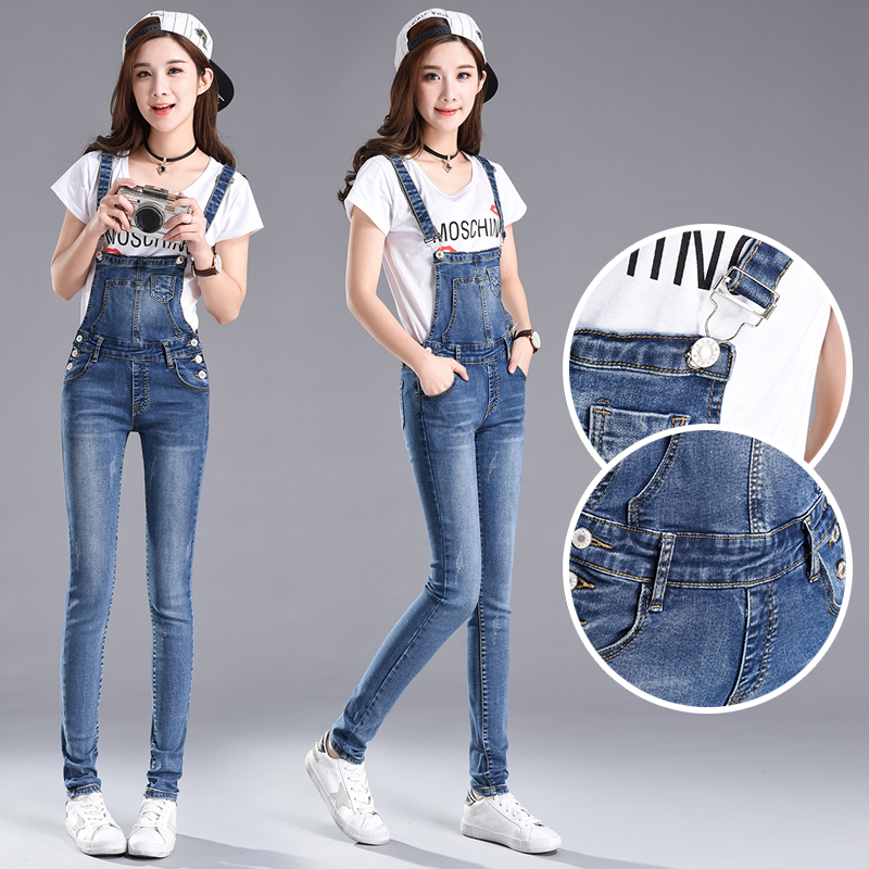 Spring and autumn 2020 new jeans pants womens pants Student Korean version of thin elastic slim fit one-piece suspender pants