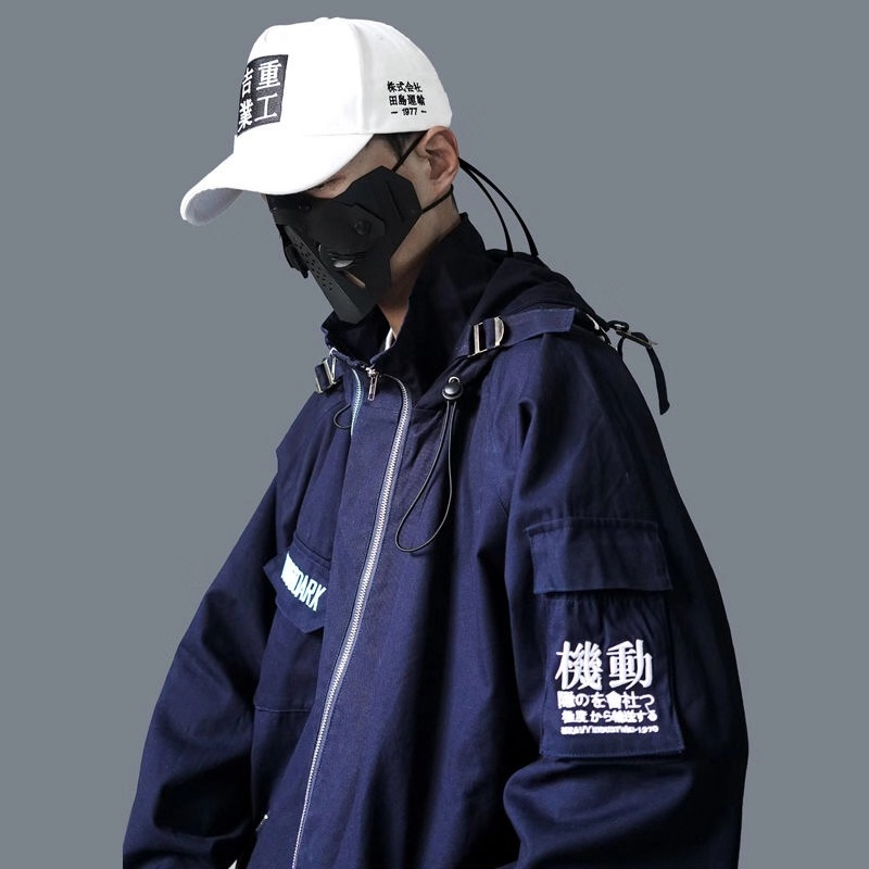 Guochao dark Multi Pocket retro jacket mens loose hip hop hooded air force functional tooling embroidered coat