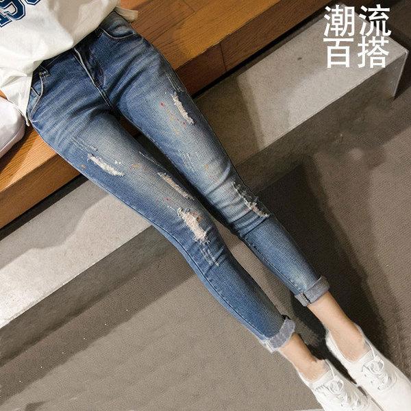 春季韩版学生小脚裤显瘦卷边九分裤百搭女士长裤时尚破洞牛仔裤女