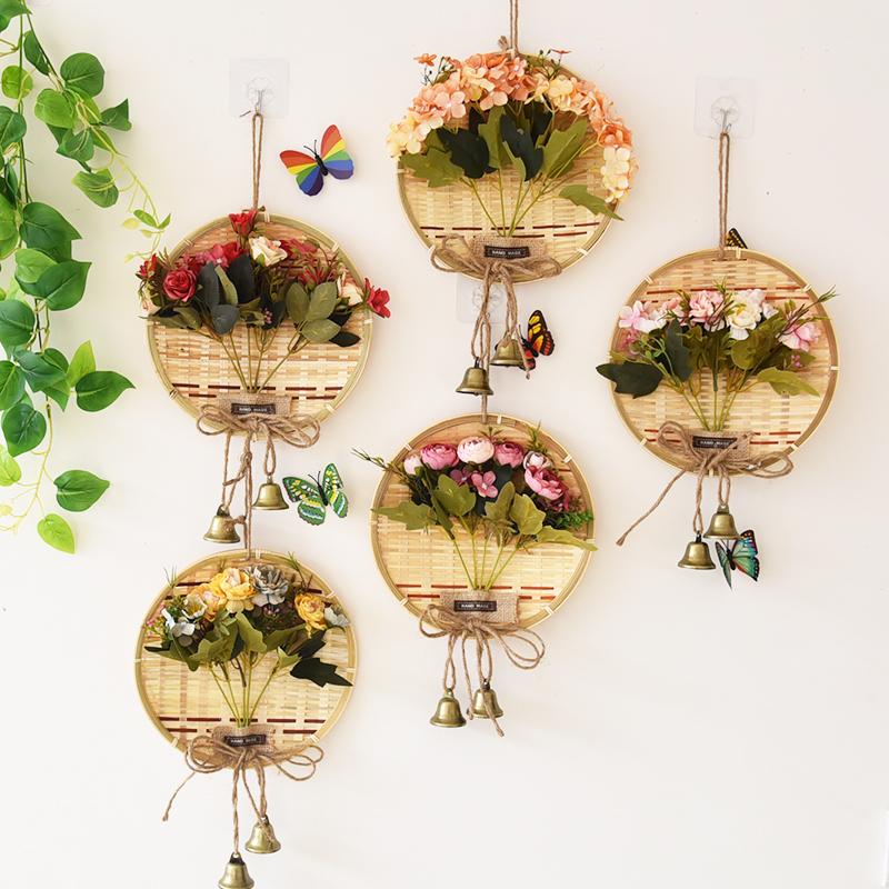 墙壁装饰挂件田园竹编办公室装饰店铺装饰房间创意墙面墙上装饰品