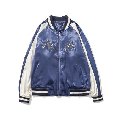 彩色拼接丝滑绸缎面料棒球服男女款夹克外套蓝色 1230P115