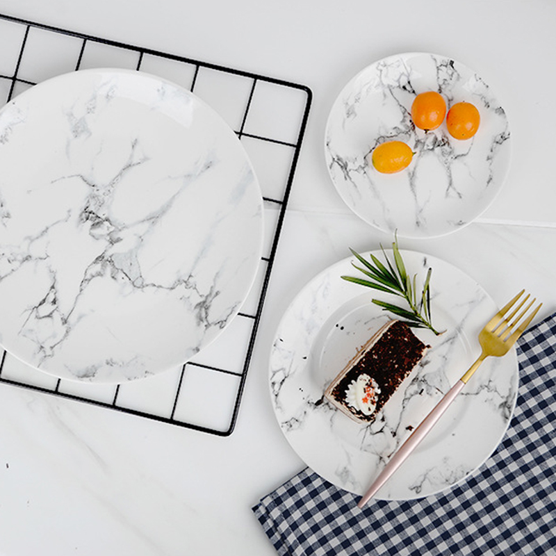 Ins Nordic tableware marble plate and bowl set simple and creative ceramic Western food steak plate cake plate