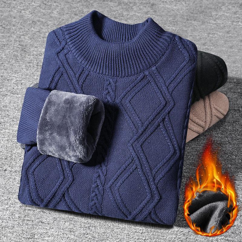 友人先森男士加绒保暖圆领毛衣男装打底衫男款加厚针织衫男装毛衫